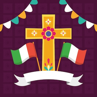Cruz e bandeiras para viva mexico