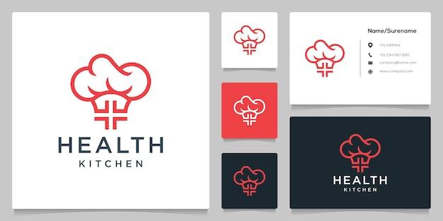 Cruz médica chapéu cozinha ilustração de design de logotipo de comida saudável com cartão bsiness