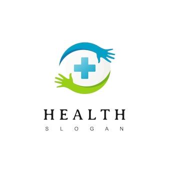 Cruz médica e cuidados de saúde logotipo modelo com símbolo de mão