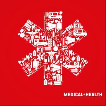 Cruz médica set ícone médico