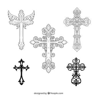 Cruz ornamental desenhada mão