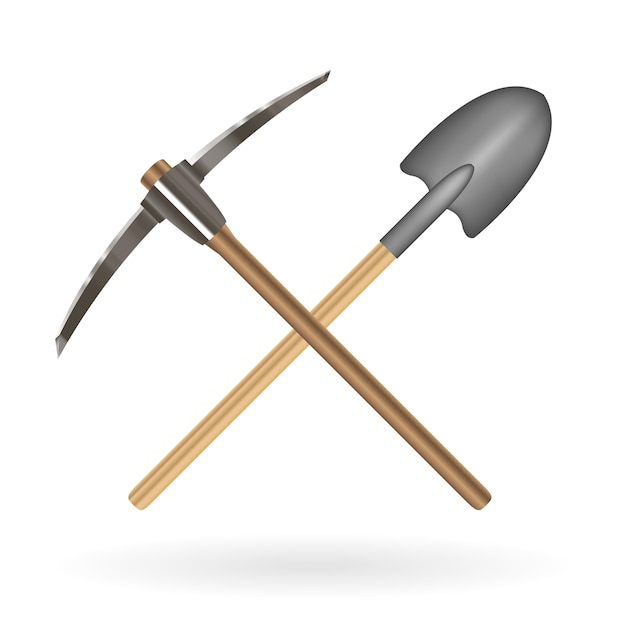Cruz pá e picareta logotipo sobre um fundo branco