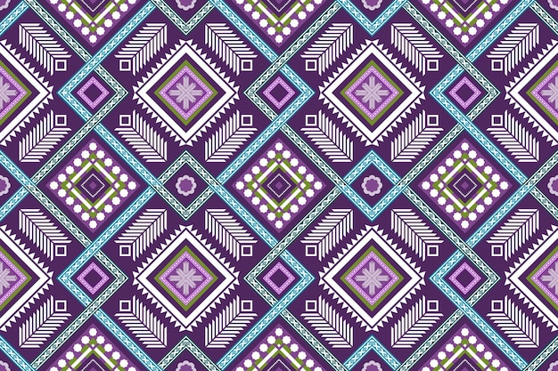 Cruz roxa azul tecer padrão tradicional sem costura oriental geométrico étnico. design para plano de fundo, tapete, pano de fundo de papel de parede, roupas, embrulho, batik, tecido. estilo de bordado. vetor.