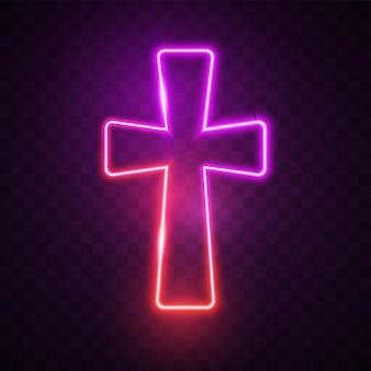 Cruz roxa brilhante.