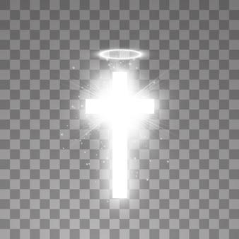 Cruz sagrada branca brilhante e anel de halo de anjo branco
