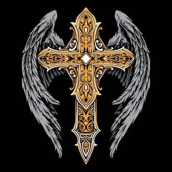Cruz vintage com ornamento de asas