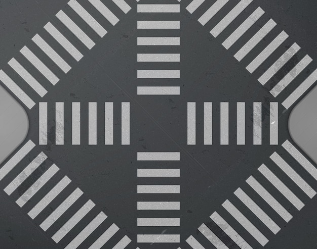 Cruzamento de estrada com vista superior da faixa de pedestres