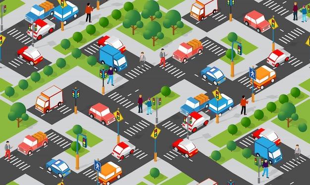 Cruzamento isométrico de encruzilhada de ruas de rodovias
