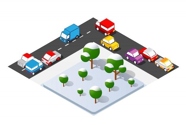 Cruzamento isométrico de encruzilhada de ruas