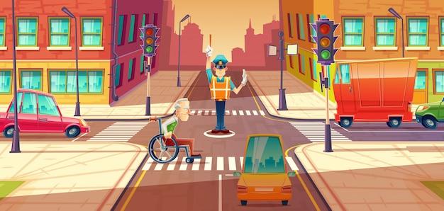 Cruzando o protetor ajustando o transporte que move-se, encruzilhada da cidade com pedestre