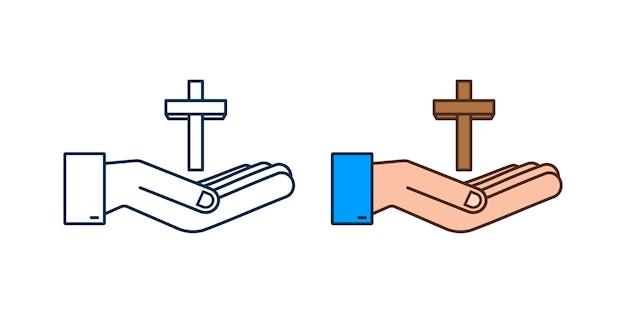 Cruze o ícone de madeira no design de mãos em fundo branco. ícone de religião.