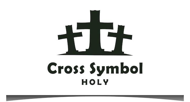 Cruze o vetor de design de logotipo sagrado