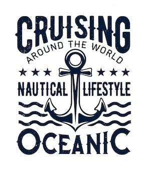 Cruzeiro no oceano, estilo de vida náutico, âncora de navio