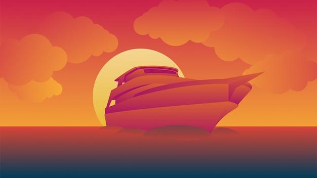 Cruzeiros navegam durante o pôr do sol