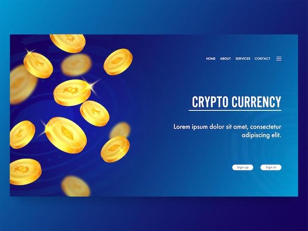 Crypto moeda conceito baseado em landing page design na cor azul.