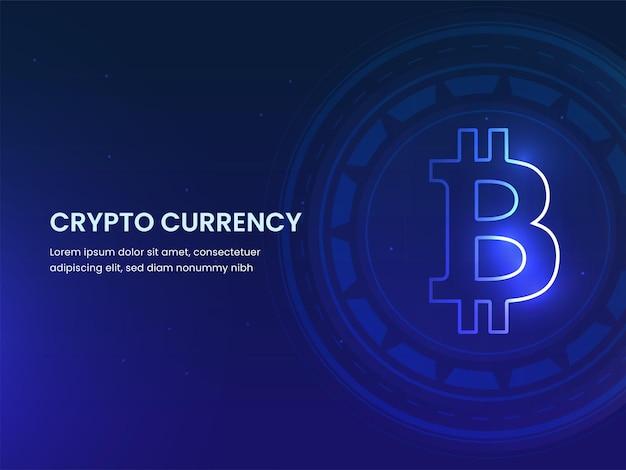 Crypto moeda conceito baseado em web template design com bitcoin futurista fundo azul.