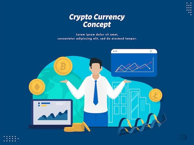 Crypto moeda conceito baseado em web template design com empresário apresentando análise de dados financeiros sobre fundo azul.