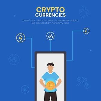 Crypto moedas conceito baseado design de cartaz com homem segurando bitcoin sobre ilustração de tela do smartphone.