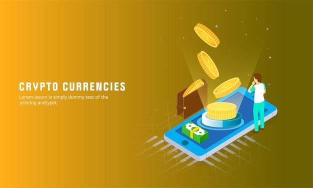 Crypto moedas web banner design com 3d bitsoins, pilha de notas na ilustração de tela do smartphone.