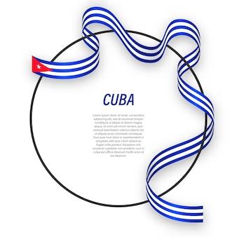 Cuba 3d com a bandeira nacional.