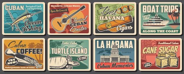 Cuba e havana viajam em pôsteres retrô marcantes. vector praia do mar do caribe, palmeiras tropicais, mapa cubano, charuto de tabaco, café e guitarra, edifício do capitólio de havana, barco de pesca, marlin azul e tartaruga
