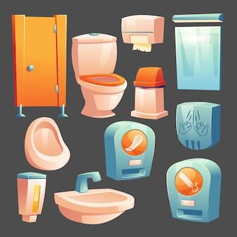 Cubículo de material de banheiro público, tigela de cerâmica e mictório, recipiente com sabonete líquido, lixeira e lenços de papel, automação com absorventes femininos higiênicos, secador de mãos, espelho conjunto de vetores de desenhos animados