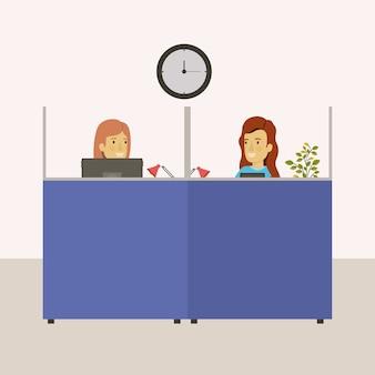 Cubículos escritório no local de trabalho com funcionários do sexo feminino