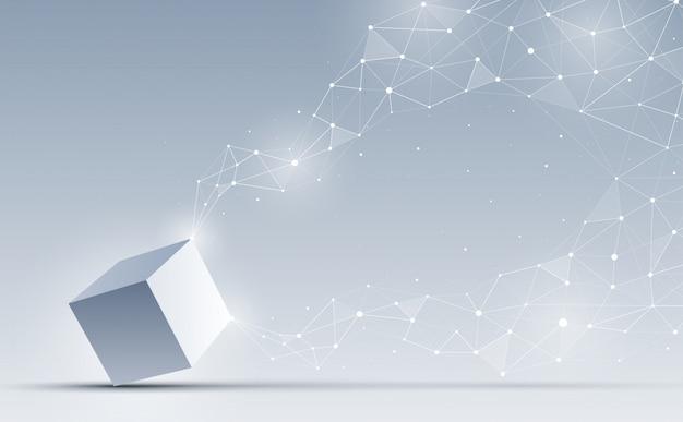 Cubo 3d abstrato no fundo. forma geométrica abstrata e conexão.