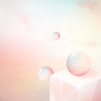 Cubo 3d e design abstrato de esfera