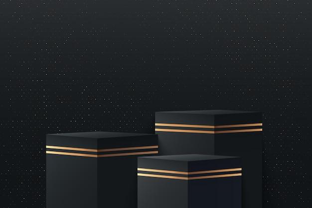 Cubo abstrato com renderização em 3d de forma geométrica preta e dourada