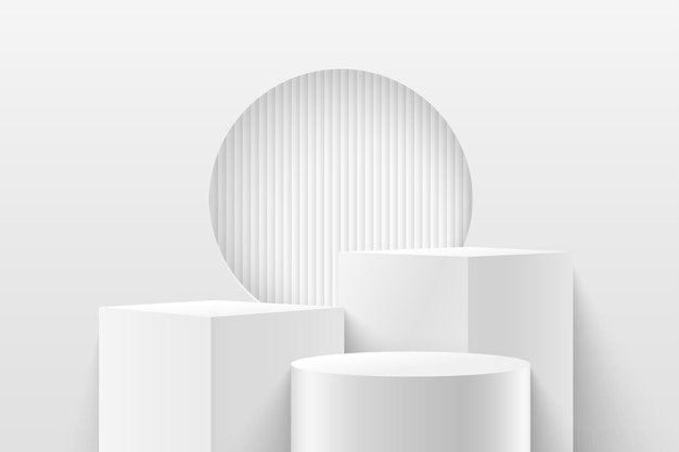 Cubo abstrato e display redondo para o produto. renderização 3d forma geométrica cor branca e cinza.