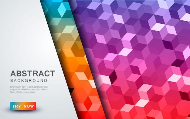Cubo abstrato fundo colorido