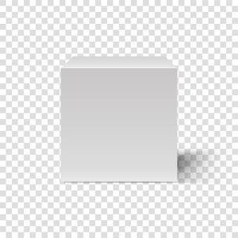 Cubo branco. molde 3d da caixa cúbica. vista frontal. caixa em branco sobre fundo transparente. caixa retangular abstrata. pódio com sombra realista