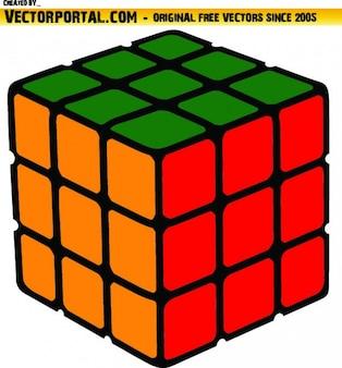 Cubo coloful resolvido ilustração vetorizada