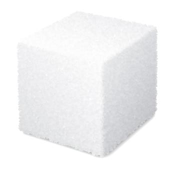 Cubo de açúcar 3d realista isolado no fundo branco