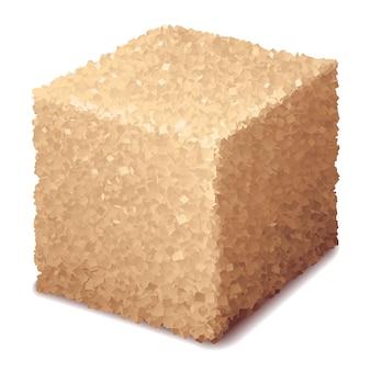 Cubo de açúcar mascavo 3d realista isolado no fundo branco