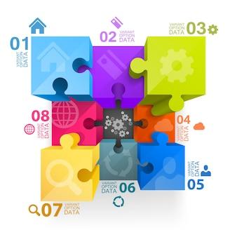 Cubo de arte 3d de infográficos de quebra-cabeça. ilustração vetorial