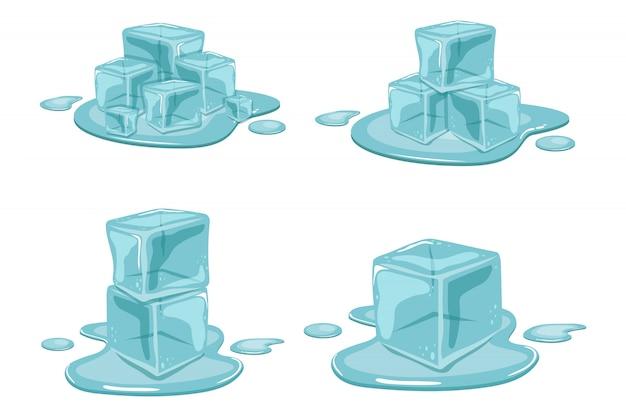 Cubo de gelo derretendo ilustração isolado no fundo branco