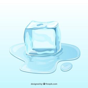 Cubo de gelo derretendo na mão desenhada estilo