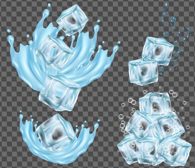 Cubo de gelo isolado e salpicos de água ilustração vetorial
