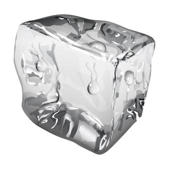 Cubo de gelo opaco com gotas de água em tons de cinza