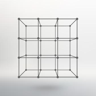 Cubo de linhas e pontos. cubo das linhas conectadas aos pontos. estrutura molecular. a grade estrutural de polígonos. fundo branco. a instalação está localizada em um fundo de estúdio branco.