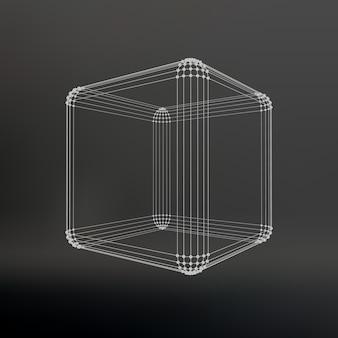 Cubo de linhas e pontos. cubo das linhas conectadas aos pontos. estrutura molecular. a grade estrutural de polígonos. fundo preto. a instalação está localizada em um fundo preto de estúdio.