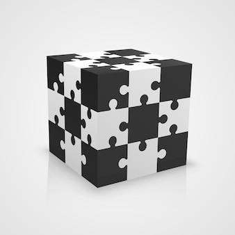 Cubo de quebra-cabeça preto e branco. ilustração vetorial