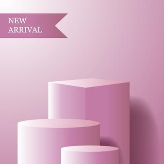 Cubo geométrico e cilindro com cor rosa feminina para exibição do pódio do produto recém-chegado para menina ou mulher