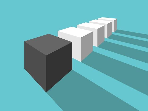 Cubo preto único diferente muitos brancos vista em perspectiva singularidade individualidade
