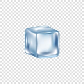 Cubo translúcido realista de gelo e água congelada em um fundo transparente. bloco frio único e cubo de gelo para álcool e coquetéis, bebidas. ilustração realista.