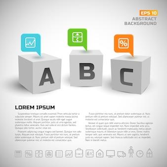 Cubos 3d e fundo de ícones de negócios