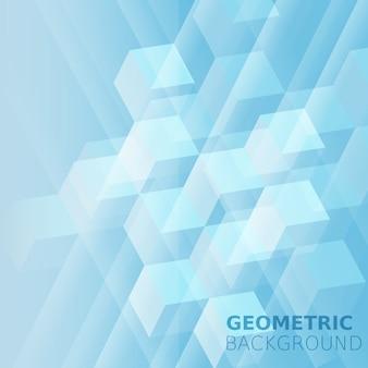 Cubos abstraem cor monocromática de fundo, azul, quadrados