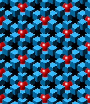 Cubos abstratos azuis e bolas vermelhas com fundo preto